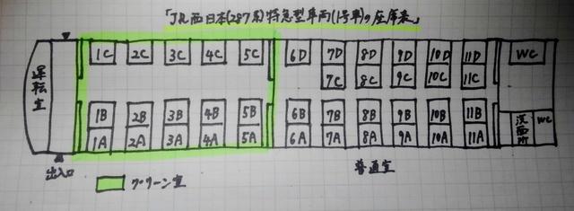 28グリーン車座席がある、特急きのさき号(287系)1号車の座席表(座席配置図)7.JPG