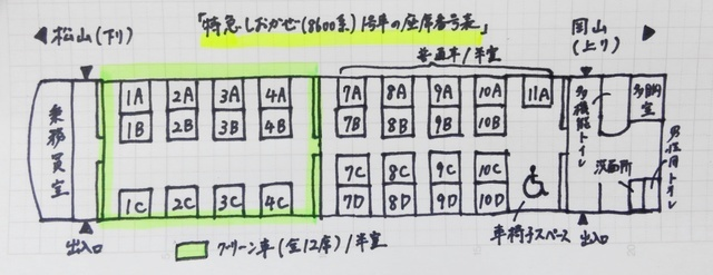 KIMG3153グリーン車がある特急しおかぜ号(8600系)1号車の座席番号表.JPG