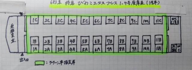 KIMG31特急びわこエクスプレス(683系4000番台)1号車(グリーン車)の座席表(座席配置図)63.JPG